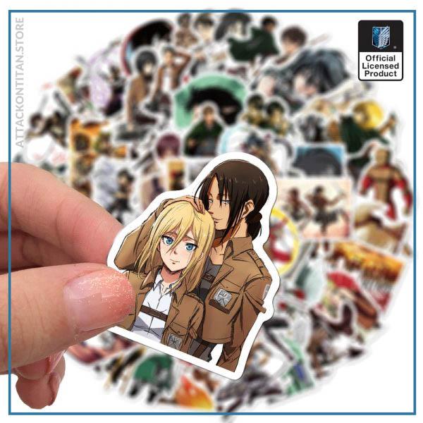 100Pcs Set Attack on Titan Anime Sticker Cartoon Sticker for Skateboard Motorcycle ScrapbookDiy Toy Laptop Snowboard 2 - Attack On Titan Store