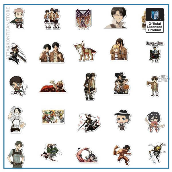 100Pcs Set Attack on Titan Anime Sticker Cartoon Sticker for Skateboard Motorcycle ScrapbookDiy Toy Laptop Snowboard 5 - Attack On Titan Store