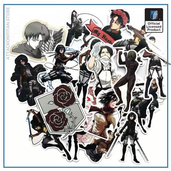 42Pcs lot Japanese Anime Attack on titan Mikasa Levi Eren Stickers For Car Phone Luggage Laptop 1 - Attack On Titan Store