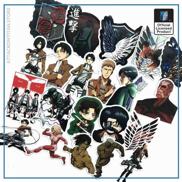 42Pcs lot Japanese Anime Attack on titan Mikasa Levi Eren Stickers For Car Phone Luggage Laptop 3 - Attack On Titan Store