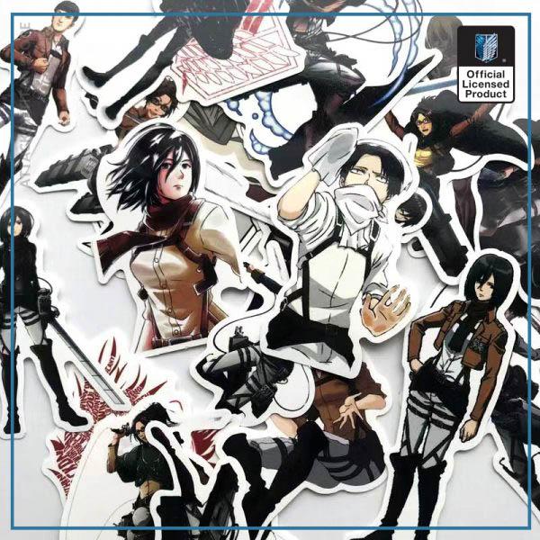 42Pcs lot Japanese Anime Attack on titan Mikasa Levi Eren Stickers For Car Phone Luggage Laptop 5 - Attack On Titan Store