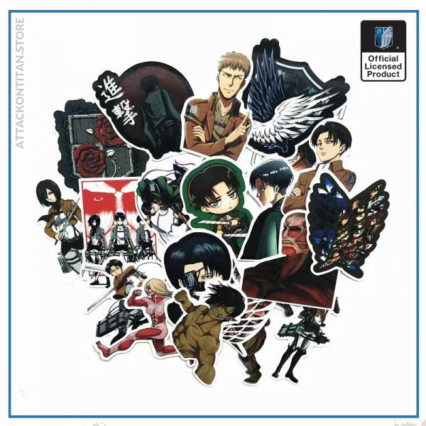 42Pcs lot Japanese Anime Attack on titan Mikasa Levi Eren Stickers For Car Phone Luggage Laptop - Attack On Titan Store