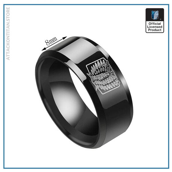 Anime Attack on Titan Rings Levi Ackerman Cosplay Prop Scout Regiment Wings of Liberty Black Rings 1 - Attack On Titan Store