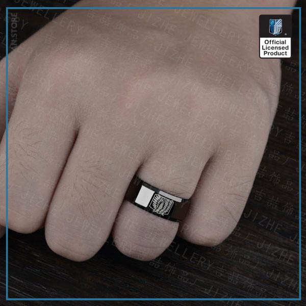 Anime Attack on Titan Rings Levi Ackerman Cosplay Prop Scout Regiment Wings of Liberty Black Rings 2 - Attack On Titan Store