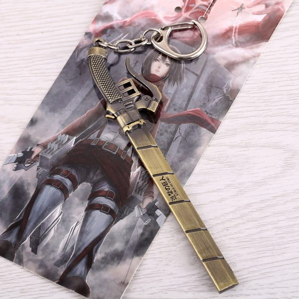 Anime Attack On Titan Keychain Metal Bronze Pendant Kyojin Keychain Holder Chaveiro Men Women Gift Porte 2 - Attack On Titan Store