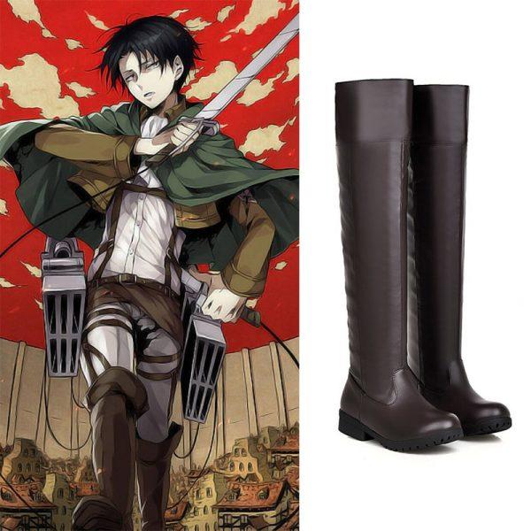 Anime Cosplay Attack on Titan Shoes Eren Jager Thigh Boot Mikasa Ackerman Armin Arlert Brown Kinky - Attack On Titan Store