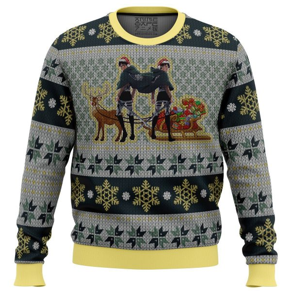 eren yeager and levi ackerman premium ugly christmas sweater 321836 - Attack On Titan Store