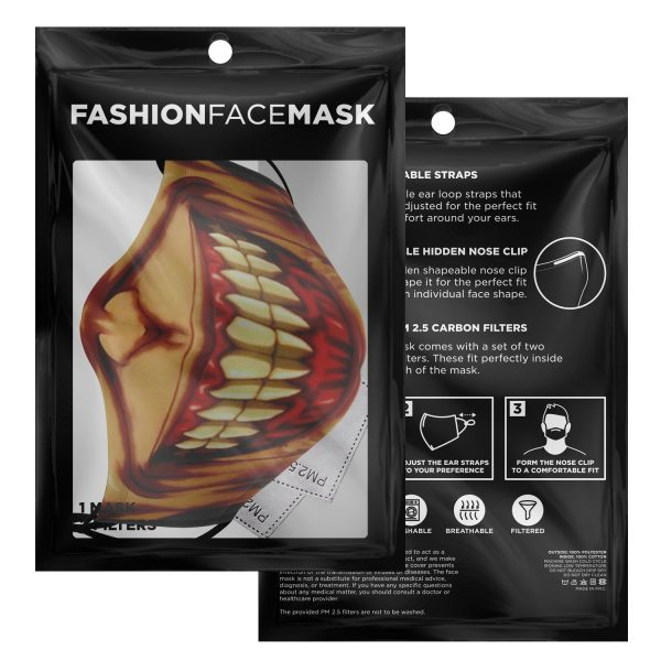 jaw titan v3 attack on titan premium carbon filter face mask 848747 - Attack On Titan Store