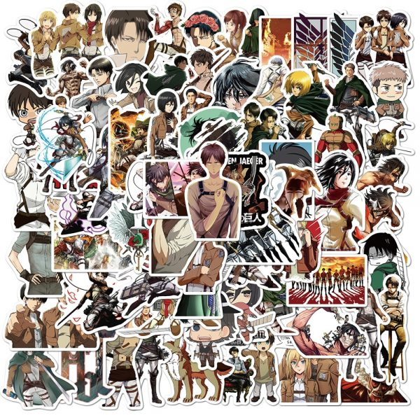 10 30 50Pcs Pack Attack On Titan Anime Stickers Laptop Guitar Motorcycle Luggage Skateboard Bicycle Waterproof - Attack On Titan Store
