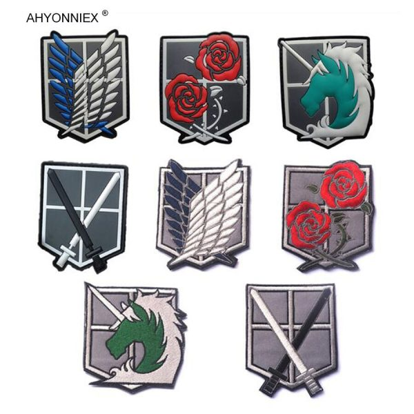 1PC PVC 3D Attack On Titan Wings Of Liberty Investigation Corps Embroidery Badges Patch Military Tactical 1 - Attack On Titan Store