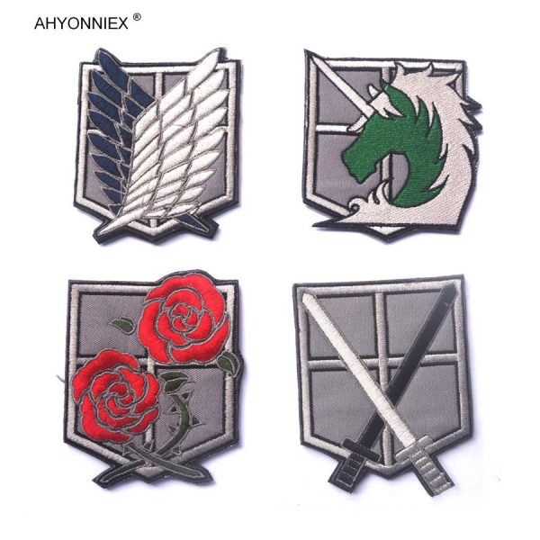1PC PVC 3D Attack On Titan Wings Of Liberty Investigation Corps Embroidery Badges Patch Military Tactical 2 - Attack On Titan Store