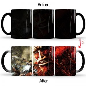 1Pcs 350ml New Attack On Titan Color Changing Mug Home Ceramic Coffee Milk Cup Creative Birthday Gift for Children Friends Kids