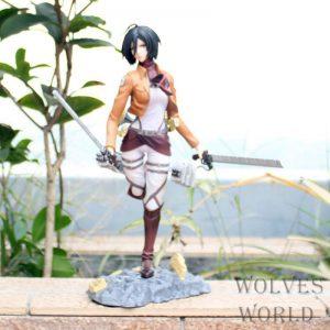 25cm Attack on Titan Mikasa Ackerman Action Figure Anime Petit Chara Land Mikasa Ackerman PVC Collection - Attack On Titan Store