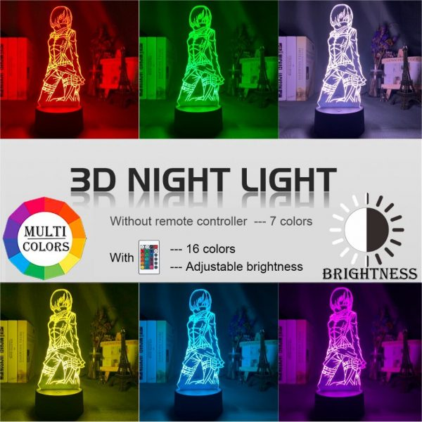3d Lamp Attack on Titan Mikasa Ackerman Figure Kids Nightlight for Room Decoration Led Color Changing 3 - Attack On Titan Store