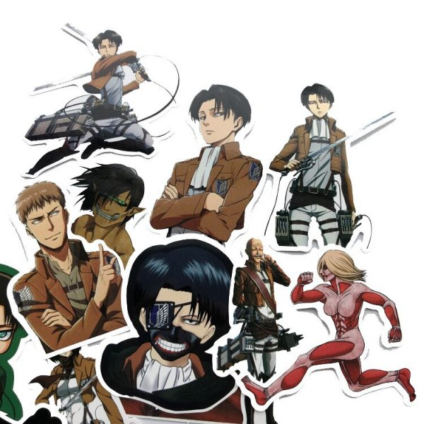 42Pcs lot Japanese Anime Attack on titan Mikasa Levi Eren Stickers For Waterproof Car Phone Luggage 1 - Attack On Titan Store