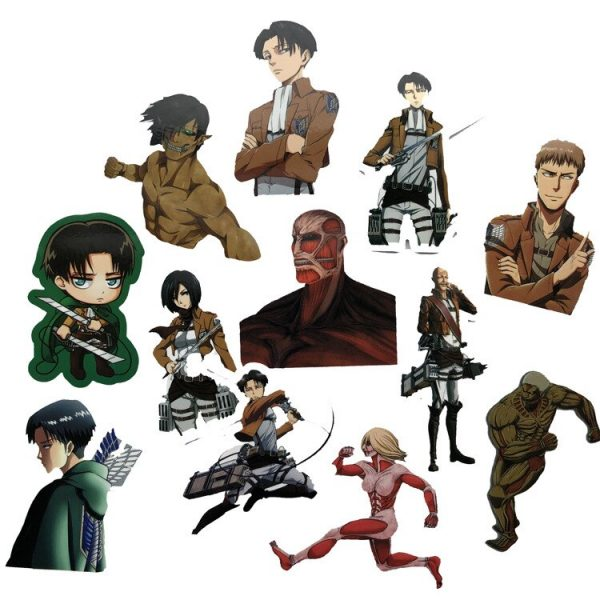 42Pcs lot Japanese Anime Attack on titan Mikasa Levi Eren Stickers For Waterproof Car Phone Luggage 2 - Attack On Titan Store