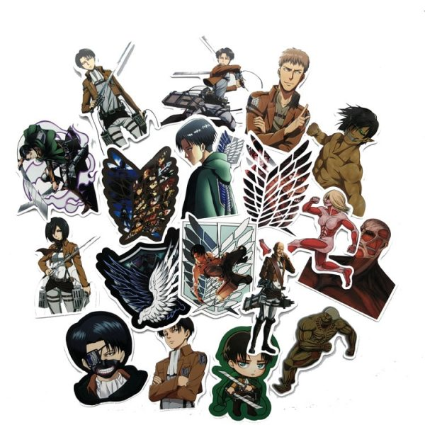 42Pcs lot Japanese Anime Attack on titan Mikasa Levi Eren Stickers For Waterproof Car Phone Luggage 5 - Attack On Titan Store