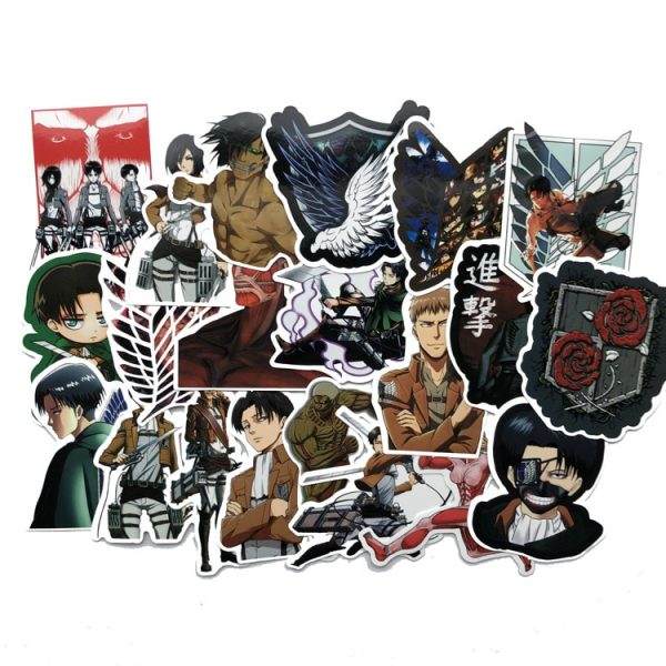 42Pcs lot Japanese Anime Attack on titan Mikasa Levi Eren Stickers For Waterproof Car Phone Luggage - Attack On Titan Store