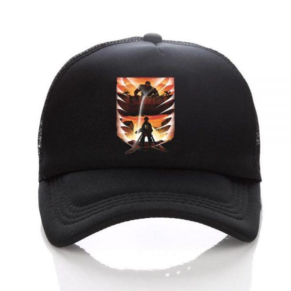 Anime Attack on Titan hat Regiment Scout Legion Symbol Black Mesh Trucker Cap Baseball Cap Snapback 3 - Attack On Titan Store