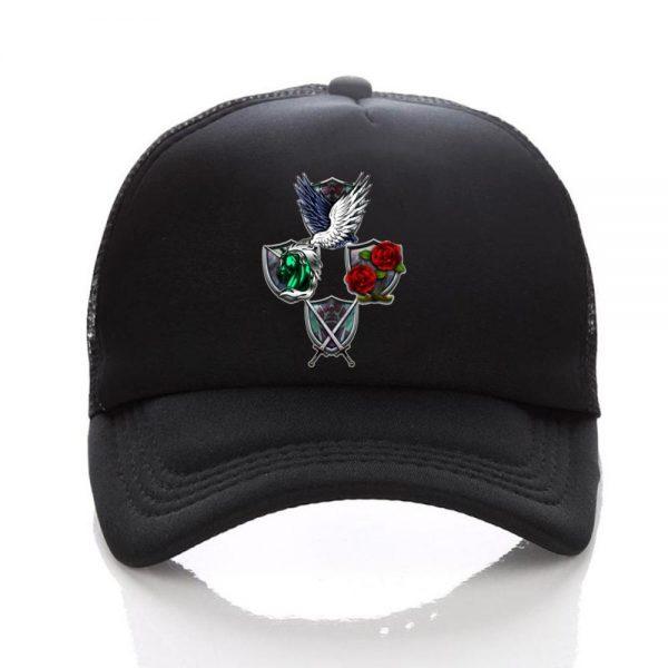 Anime Attack on Titan hat Regiment Scout Legion Symbol Black Mesh Trucker Cap Baseball Cap Snapback 4 - Attack On Titan Store