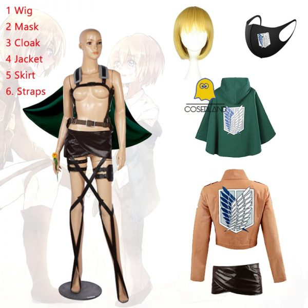 Attack on Titan Armin Arlert Cosplay Costume Anime Cloak Jacket Skirt Shingeki no Kyojin Straps Scouting - Attack On Titan Store