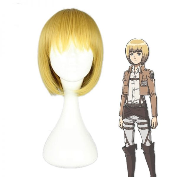 Attack on Titan Armin Arlert Cosplay Wig Blond Hair with Bangs Heat Resistance Hair Yellow Wig - Attack On Titan Store