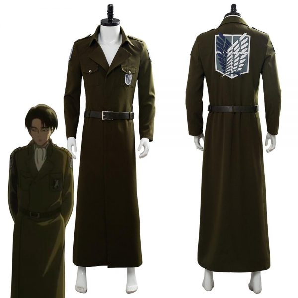 Attack on Titan Cosplay Levi Costume Scouting Legion Soldier Coat Trench Jacket Adult Men Halloween Carnival - Attack On Titan Store