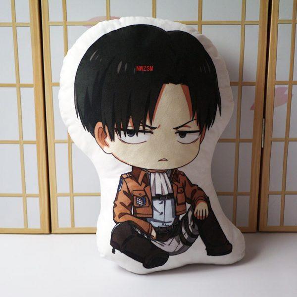 Attack on Titan Pillow Toy Anime Levi Ackerman Plush Stuffed Doll Double Sided Pillowcase 40cm Children 2 - Attack On Titan Store