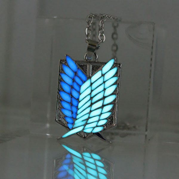 Attack on Titan glowing Necklace Pendants Corps badge Wings Of Liberty scouting legion Chain Jewelry Pendant 1 - Attack On Titan Store
