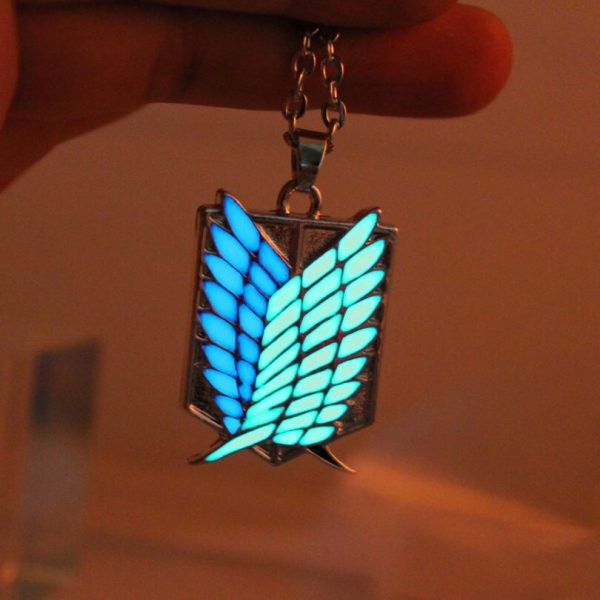 Attack on Titan glowing Necklace Pendants Corps badge Wings Of Liberty scouting legion Chain Jewelry Pendant 2 - Attack On Titan Store