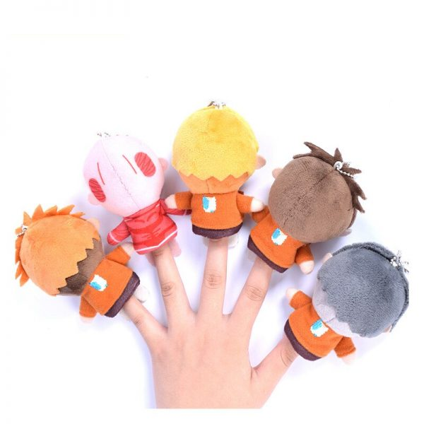 Cosplay Anime 10cm Attack on Titan Levi Erwin Cute Plush Finger Puppets Cover Stuffed Toys Doll 1 - Attack On Titan Store