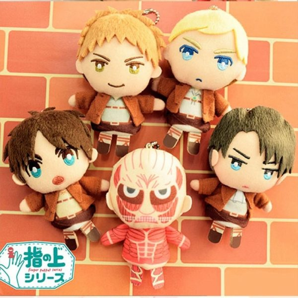 Cosplay Anime 10cm Attack on Titan Levi Erwin Cute Plush Finger Puppets Cover Stuffed Toys Doll 2 - Attack On Titan Store