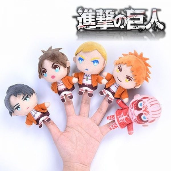 Cosplay Anime 10cm Attack on Titan Levi Erwin Cute Plush Finger Puppets Cover Stuffed Toys Doll - Attack On Titan Store