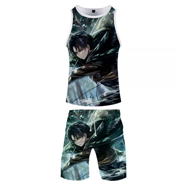 High Quality 3D Attack On Titan Two Piece Set Summer Baseball Tank Tops Beach Shorts Casual 2 - Attack On Titan Store
