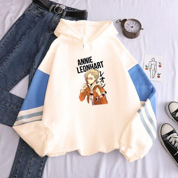 Japan Anime Attack on Titan Print Hooded Sweatshirts Women Harajuku Cartoon Annie Leonhart Oversized Streetwear Winter - Attack On Titan Store