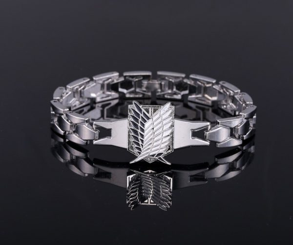 MJ Anime Silver Color Bracelets Attack on Titan Rotation Logo Bracelet Cosplay Accessories 1 - Attack On Titan Store