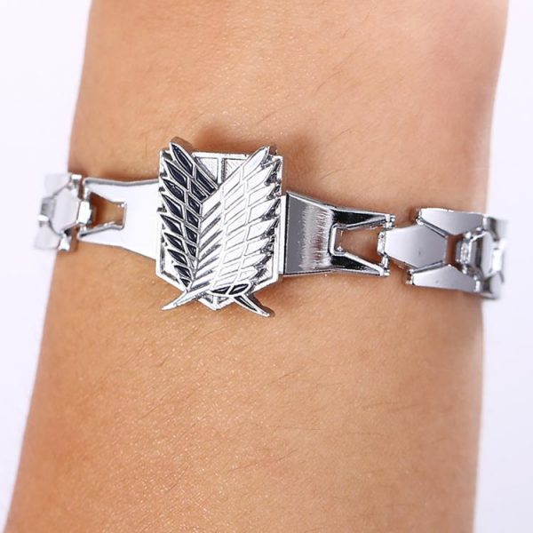 MJ Anime Silver Color Bracelets Attack on Titan Rotation Logo Bracelet Cosplay Accessories - Attack On Titan Store