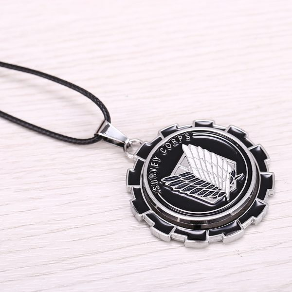 MOSU Hot Anime Attack on Titan Necklace Rotatable Scout Regiment Logo pendant High Quality metal Jewelry 1 - Attack On Titan Store