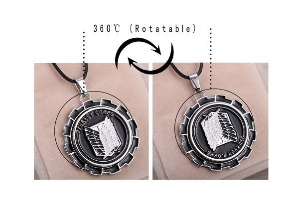 MOSU Hot Anime Attack on Titan Necklace Rotatable Scout Regiment Logo pendant High Quality metal Jewelry 2 - Attack On Titan Store