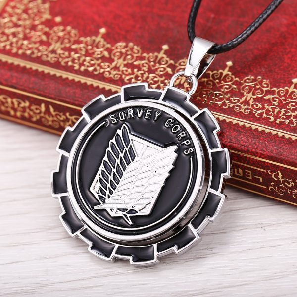 MOSU Hot Anime Attack on Titan Necklace Rotatable Scout Regiment Logo pendant High Quality metal Jewelry 3 - Attack On Titan Store