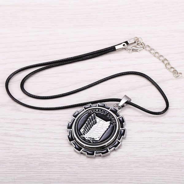 MOSU Hot Anime Attack on Titan Necklace Rotatable Scout Regiment Logo pendant High Quality metal Jewelry 4 - Attack On Titan Store