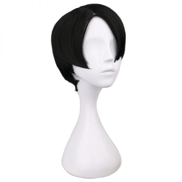 QQXCAIW Short Straight Cosplay Levi Rivaille Black 30 Cm Synthetic Hair Wigs 1 - Attack On Titan Store