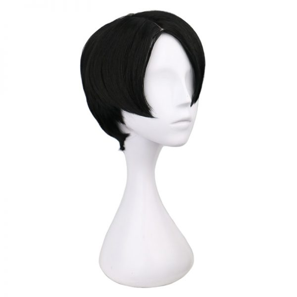 QQXCAIW Short Straight Cosplay Levi Rivaille Black 30 Cm Synthetic Hair Wigs - Attack On Titan Store