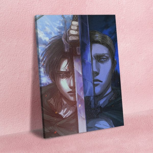 Shingeki No Kyojin Levi Erwin Smith Canvas Wall Art Decoration Poster Prints for Living Room Home 1 - Attack On Titan Store