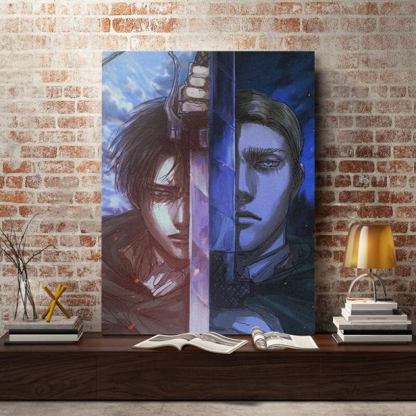 Shingeki No Kyojin Levi Erwin Smith Canvas Wall Art Decoration Poster Prints for Living Room Home 2 - Attack On Titan Store