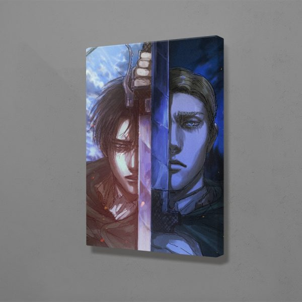 Shingeki No Kyojin Levi Erwin Smith Canvas Wall Art Decoration Poster Prints for Living Room Home 3 - Attack On Titan Store
