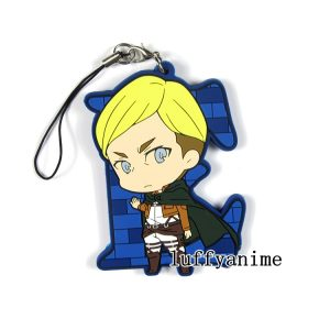 Attack on Titan Rubber Mascot Pendant Eren Jager Levi Ackerman Erwin Smith Christa Lenz Connie Springe Phone Strap Keychain