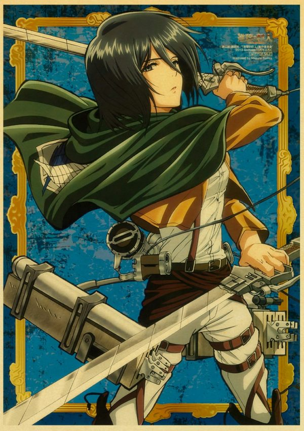Japanese Classic Anime Attack on Titan Season 4 Poster Kraft Paper Prints and Posters Home Room Decor Art Wall Stickers